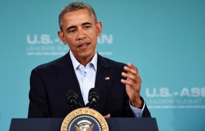 (160216) -- CALIFORNIA, febrero 16, 2016 (Xinhua) -- El presidente estadounidense Barack Obama, participa durante una conferencia de prensa luego de la Cumbre Estados Unidos de América-Asociación de Naciones del Sudeste Asiático (EEUU-ASEAN), en Rancho Mirage, California, Estados Unidos de América, el 16 de febrero de 2016. (Xinhua/Yin Bogu) (jp) (sp)