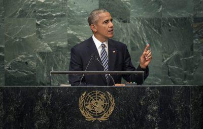 (160920) -- NUEVA YORK, septiembre 20, 2016 (Xinhua) -- El presidente de Estados Unidos de América, Barack Obama, pronuncia un discurso durante 71 Periodo de Sesiones de la Asamblea General de la Organización de las Naciones Unidas (ONU), en Nueva York, Estados Unidos de América, el 20 de septiembre de 2016. Los Estados miembros de la ONU deben intensificar sus esfuerzos para implementar el Acuerdo de París sobre cambio climático para fines de año, con el fin de construir un mundo de crecimiento sostenible, declaró el martes el secretario general de la ONU, Ban Ki-moon. (Xinhua/UN Photo) (jg) (ah)