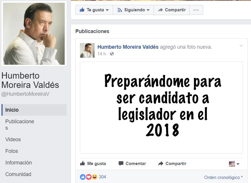 Moreira buscará en 2018 legislatura